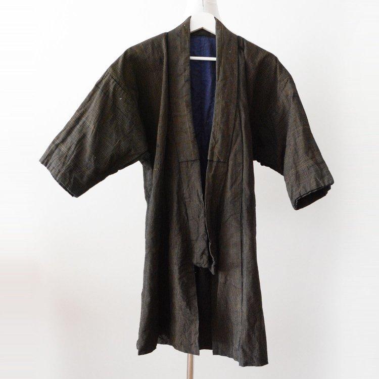 野良着 藍染 木綿 縞模様 着物 ジャパンヴィンテージ 大正 昭和 古着 | Noragi Jacket Indigo Blue Kimono Cotton Stripe Japan Vintage