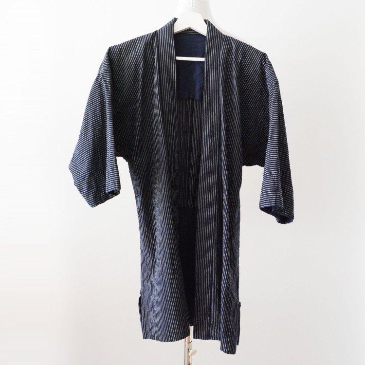 野良着 藍染 木綿 縞模様 着物 ジャパンヴィンテージ 昭和 古着 | Noragi Jacket Indigo Blue Kimono Cotton Stripe Japanese Vintage