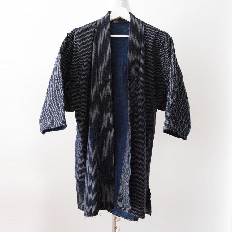 野良着 藍染 古着 木綿 縞模様 着物 ジャパンヴィンテージ 昭和 | Noragi Jacket Men Indigo Kimono Cotton Stripe Japan Vintage