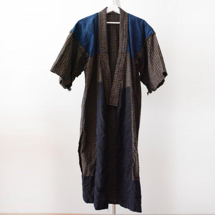 藍染 着物 クレイジーパターン 格子 木綿 ジャパンヴィンテージ 大正 昭和 | Indigo Kimono Japanese Vintage Crazy Pattern Cotton Long