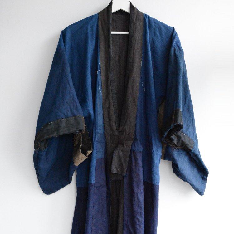 藍染 着物 縞模様 無地 クレイジーパターン ジャパンヴィンテージ 大正 昭和   Indigo Kimono Jacket Japan Vintage Stripe Crazy Pattern
