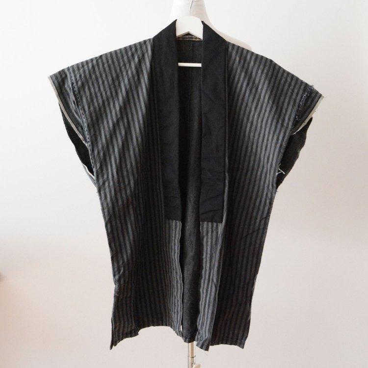 袖なし 着物 木綿 フランネル裏地 縞模様 ジャパンヴィンテージ 昭和初期 | Kimono Vest Japan Vintage Cotton Stripe Flannel Early Showa
