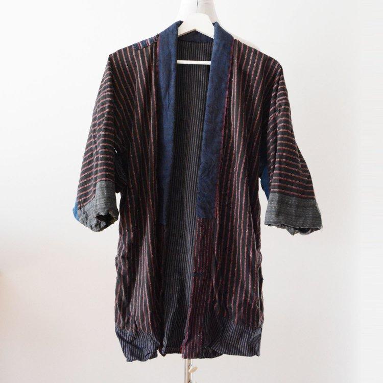 野良着 藍染 黒 縞模様 クレイジーパターン ジャパンヴィンテージ 大正 昭和 | Noragi Jacket Indigo Kimono Japan Vintage Crazy Pattern