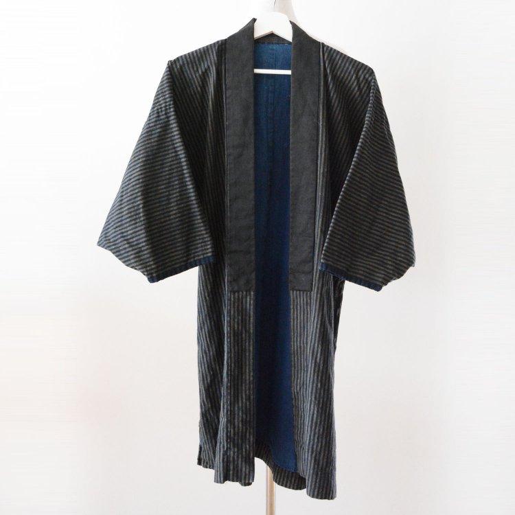 野良着 古着 藍染 着物 木綿 縞模様 ジャパンヴィンテージ 大正 昭和   Noragi Men Indigo Kimono Jacket Japan Vintage Stripe Plain