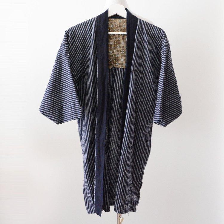 野良着 古着 木綿 縞模様 ジャパンヴィンテージ 昭和初期〜中期   Noragi Jacket Vintage Japanese Cotton Stripe Kimono Showa
