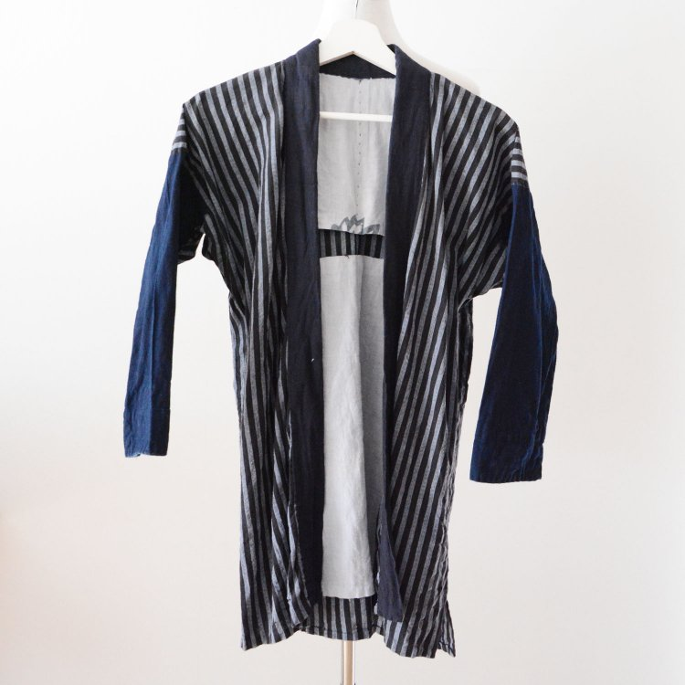 野良着 古着 藍染 クレイジーパターン 2トーン 鉄砲袖 木綿 着物 ジャパンヴィンテージ | Noragi Jacket Japan Vintage Indigo Crazy Pattern