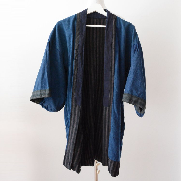 野良着 古着 藍染 縞模様 着物 ジャパンヴィンテージ 大正 昭和 | Noragi Jacket Indigo Kimono Japan Vintage Stripe Plain