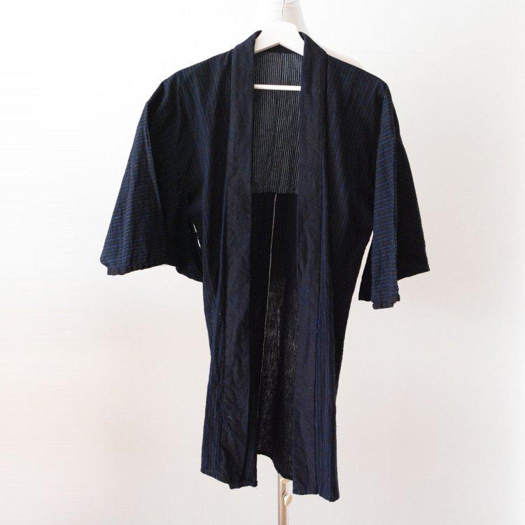 野良着 藍染襟 縞模様 着物 ジャパンヴィンテージ 30〜40年代   Noragi Jacket Indigo Collar Kimono Japan Vintage Stripe 30s 40s