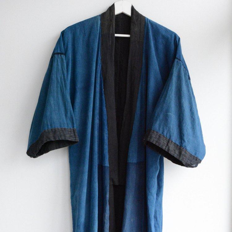 藍染 裏地 着物 木綿 縞模様 襤褸 ジャパンヴィンテージ 大正 昭和   Indigo Kimono Robe Plain Stripe Cotton Japan Vintage 20s 30s