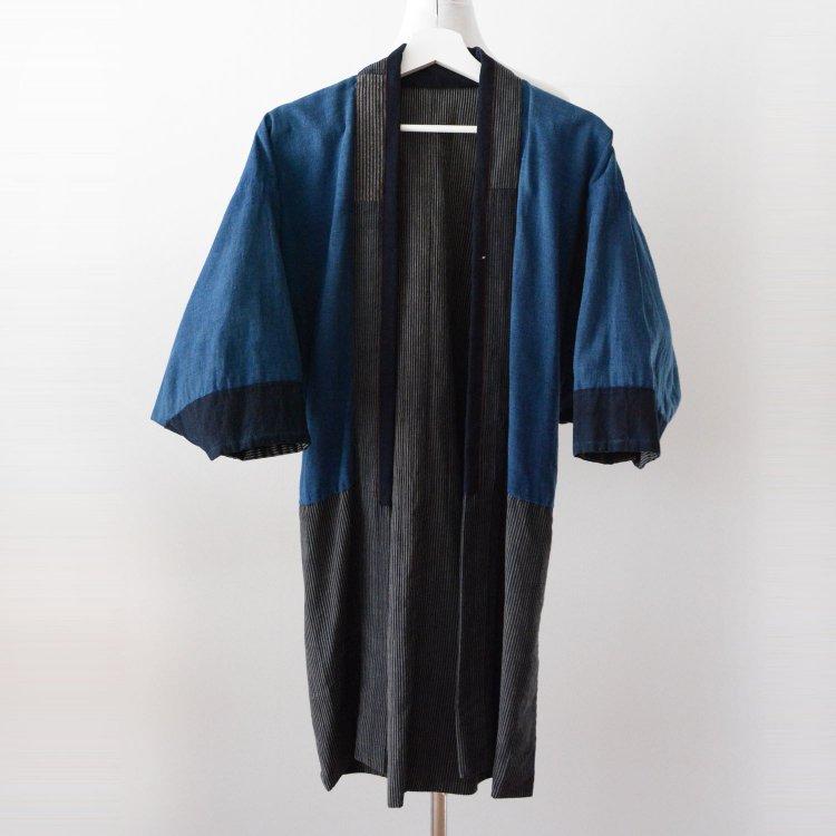 野良着 古着 藍染 縞模様 木綿 着物 ジャパンヴィンテージ 大正 昭和 | Noragi Jacket Kimono Japanese Vintage Indigo Cotton Stripe