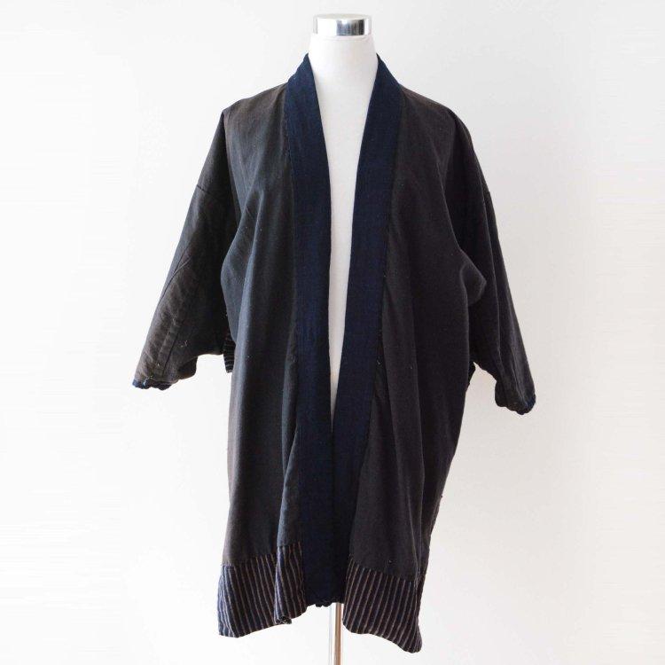野良着 古着 黒 藍染 縞模様 木綿 ジャパンヴィンテージ 大正 昭和 | Noragi Jacket Black Indigo Kimono Cotton Stripe Japan Vintage