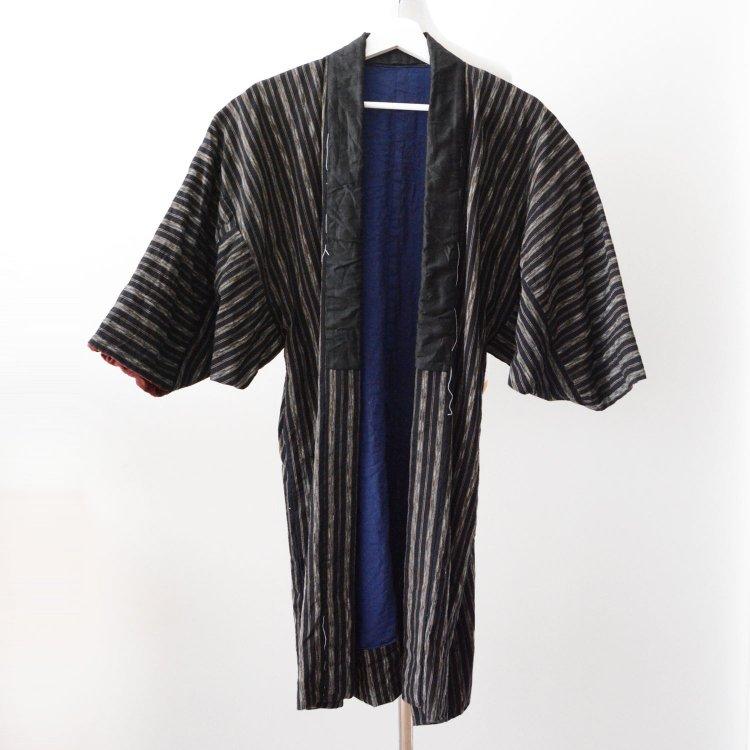 野良着 古着 着物 木綿 縞模様 ジャパンヴィンテージ 昭和初期 | Noragi Jacket Men Kimono Cotton Stripe Japan Vintage