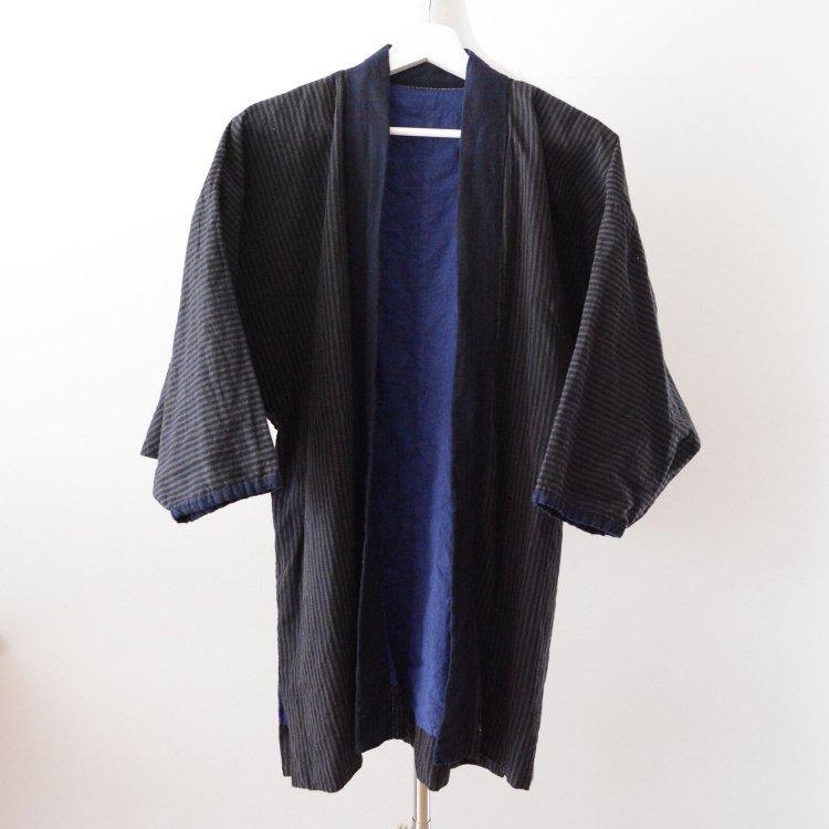 <img class='new_mark_img1' src='https://img.shop-pro.jp/img/new/icons8.gif' style='border:none;display:inline;margin:0px;padding:0px;width:auto;' />野良着 藍染襟 古着 着物 木綿 縞模様 ジャパンヴィンテージ 大正 昭和   Noragi Jacket Kimono Cotton Stripe Japan Vintage