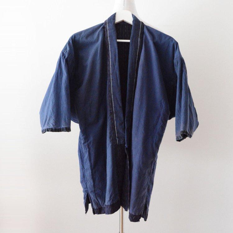 野良着 藍染襟 古着 木綿 着物 縞模様 ジャパンヴィンテージ 昭和   Noragi Jacket Kimono Cotton Stripe Japan Vintage Mid Showa