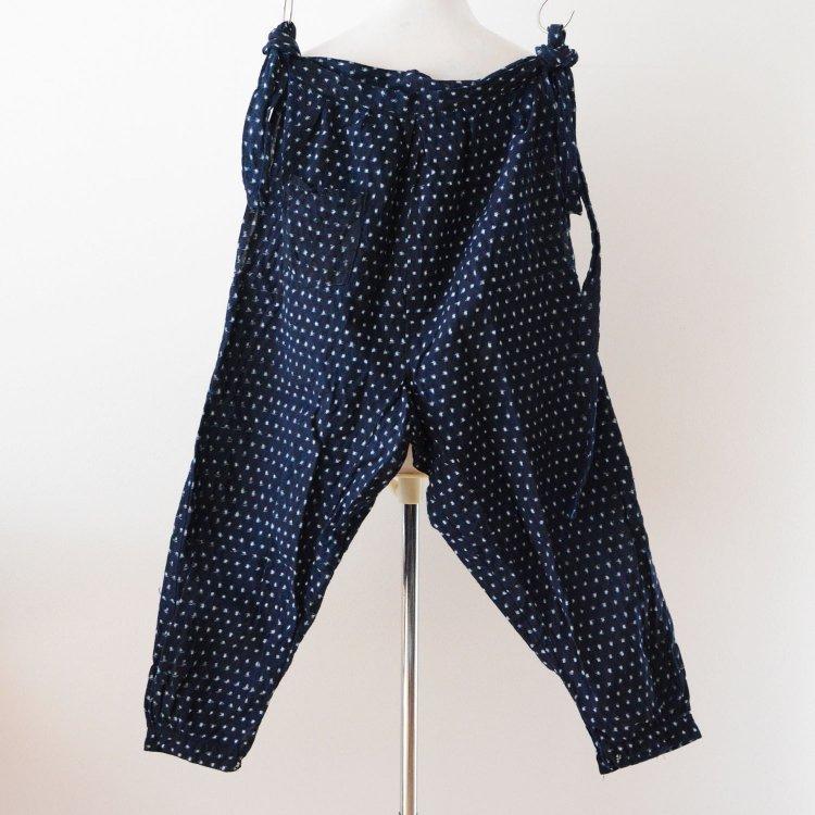 もんぺ 藍染 蚊絣 野良着 パンツ ジャパンヴィンテージ 着物 昭和   Monpe Pants Noragi Indigo Kasuri Fabric Japan Vintage Kimono