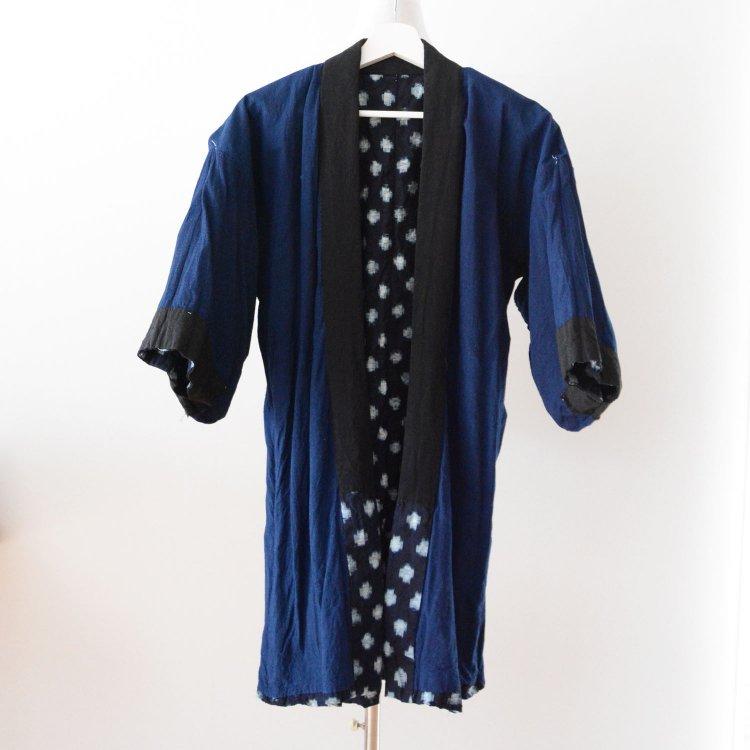 野良着 古着 藍染 絣 木綿 着物 ジャパンヴィンテージ 昭和   Noragi Jacket Indigo Kimono Kasuri Fabric Cotton Japan Vintage