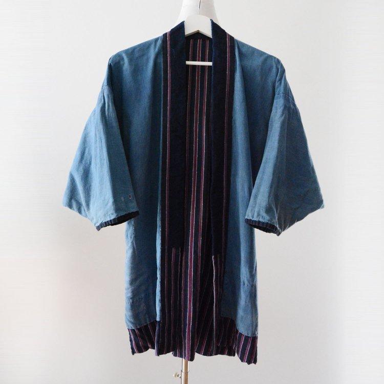 野良着 藍染 無地 縞模様 木綿 着物 襤褸 ジャパンヴィンテージ 大正 昭和 | Noragi Jacket Indigo Kimono Cotton Boro Japan Vintage