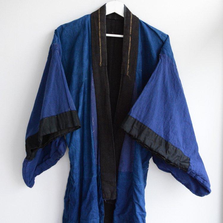 藍染 着物 クレイジーパターン 縞模様 木綿 ジャパンヴィンテージ 大正 昭和 | Kimono Indigo Dye Japan Vintage Crazy Pattern Stripe