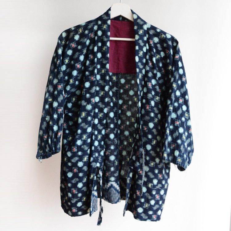 上っ張り 着物 野良着 藍染 絣 木綿 襤褸 ジャパンヴィンテージ 古着 昭和中期頃 | Uwappari Noragi Indigo Kasuri Fabric Japan Vintage