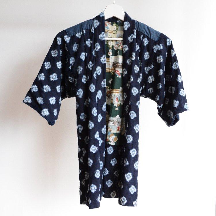 戦争柄 着物 絣 藍染 木綿 子供用 ジャパンヴィンテージ 昭和 プロパガンダ | Kimono Kids Kasuri Indigo War Propaganda