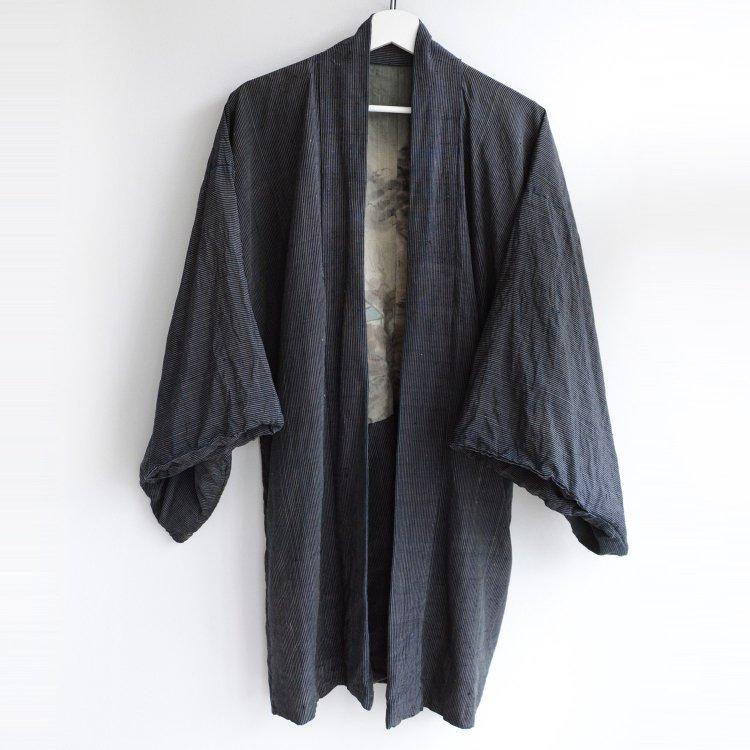 羽織 着物 男 裏勝り 藍染糸 縞模様 ジャパンヴィンテージ 昭和 | Haori Jacket Men Indigo Kimono Stripe Japan Vintage Uramasari
