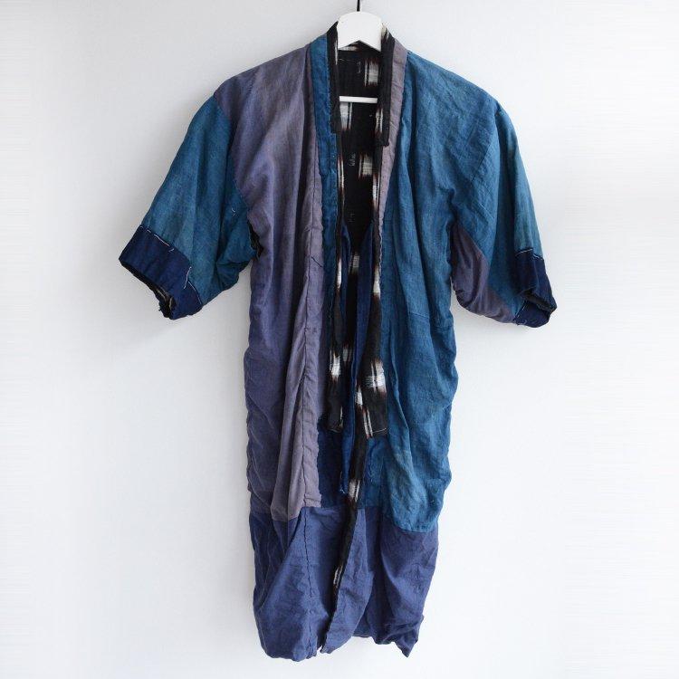 着物 藍染 絣 黒 クレイジーパターン つぎはぎ ジャパンヴィンテージ 子供 | Indigo Kimono Crazy Pattern Patchwork Kasuri Japan Vintage