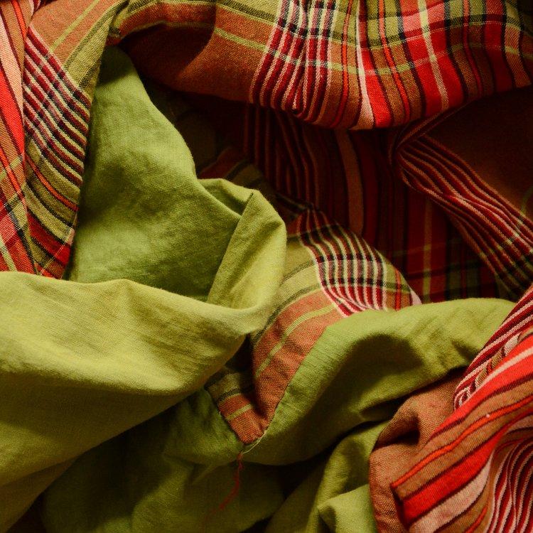 古布 布団皮 ジャパンヴィンテージ ファブリック テキスタイル 格子 昭和 | Japanese Fabric Vintage Cotton Futon Cover Textile Green Tea