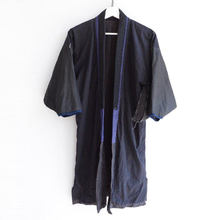 野良着 藍染 着物 クレイジーパターン ジャパンヴィンテージ 大正〜昭和   Kimono Japanese Vintage Indigo Yarn Stripe Crazy Pattern