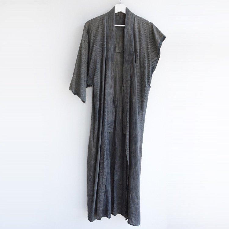 着物 片袖なし 木綿 縞模様 襤褸 ジャパンヴィンテージ 大正 昭和   Kimono Vintage Japanese Cotton Long Boro Sleeveless