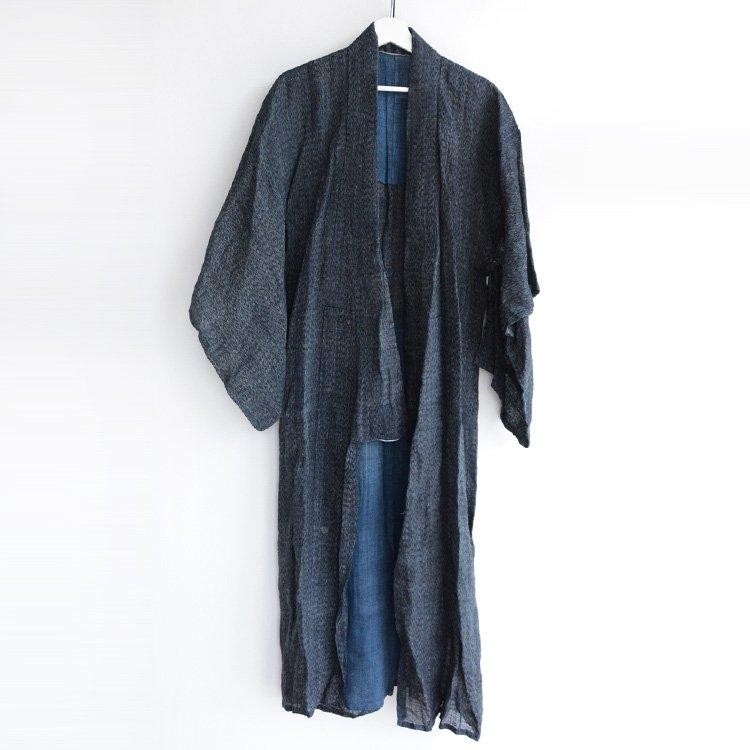麻 着物 藍染 襤褸 ジャパンヴィンテージ 大正 昭和 長着 古布 | Hemp Kimono Indigo Boro Repair Japan Vintage Robe Long 20〜30s