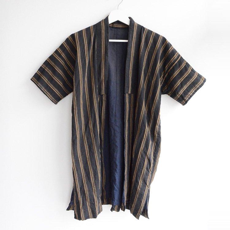 野良着 黒〜チャコールグレー 木綿 縞模様 着物 ジャパンヴィンテージ 大正 昭和   Noragi Jacket Kimono Japan Vintage Cotton Black Charcoal