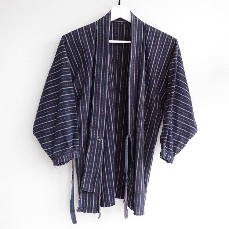 野良着 古着 木綿 縞模様 着物 上っ張り ジャパンヴィンテージ 昭和   Noragi Jacket Cotton Kimono Japanese Vintage Uwappari 30〜50s