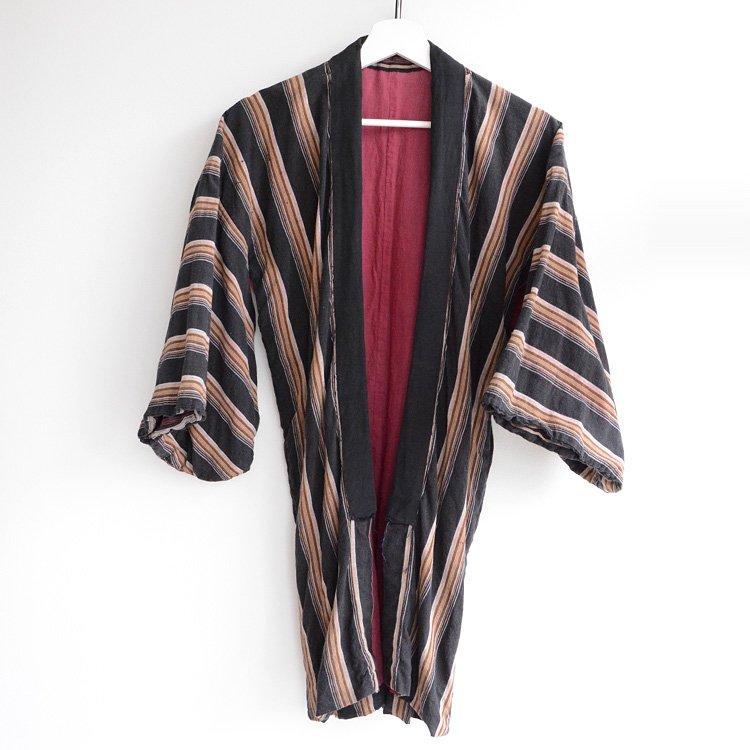 野良着 古着 黒 木綿 縞模様 着物 ジャパンヴィンテージ 昭和   Noragi Jacket Cotton Kimono Japanese Vintage Black Stripe 30〜50s