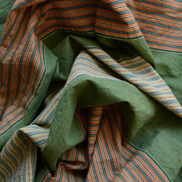 風呂敷 古布 木綿 縞模様 緑 ジャパンヴィンテージ ファブリック テキスタイル 昭和中期   Furoshiki Vintage Japanese Fabric Cotton Stripe Wrap