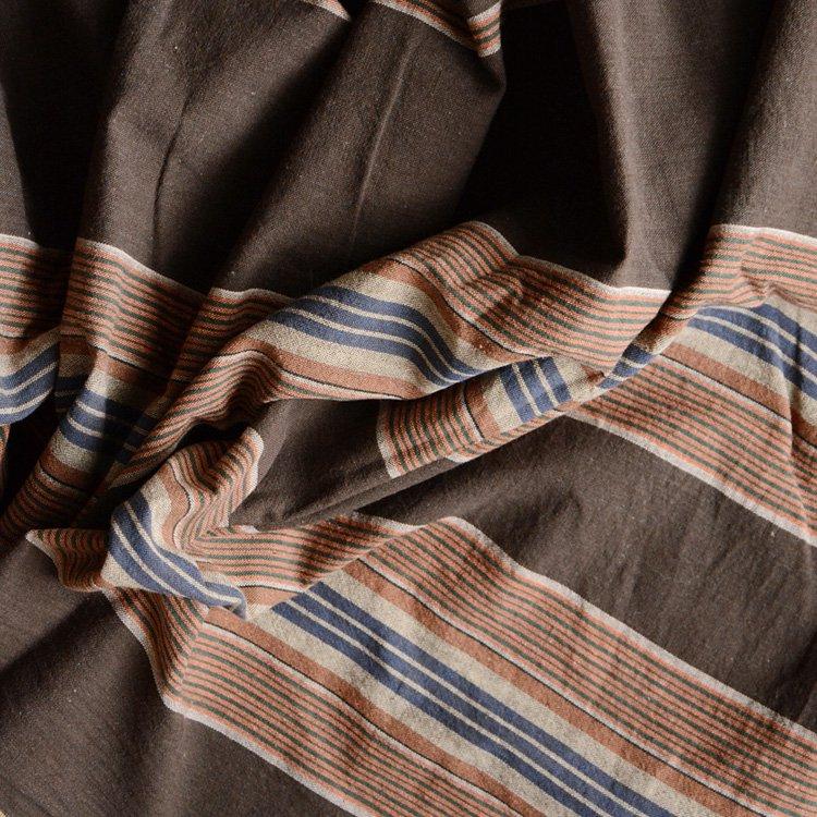 風呂敷 古布 木綿 縞模様 茶 ジャパンヴィンテージ ファブリック テキスタイル 昭和中期 | Furoshiki Vintage Japanese Fabric Cotton Stripe