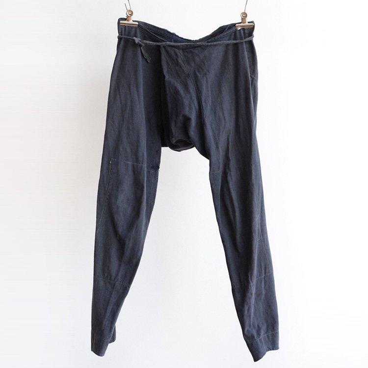 股引き 野良着 パンツ 襤褸 藍染布リペア ダブルニー ジャパンヴィンテージ 昭和 | Momohiki Pants Noragi Boro Cotton Japan Vintage