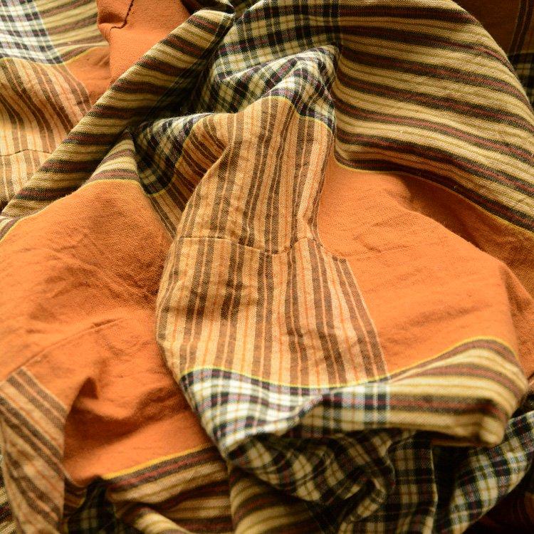 布団皮 古布 ジャパンヴィンテージ ファブリック テキスタイル 格子 昭和   Japanese Fabric Vintage Futon Cover Textile Check Pattern