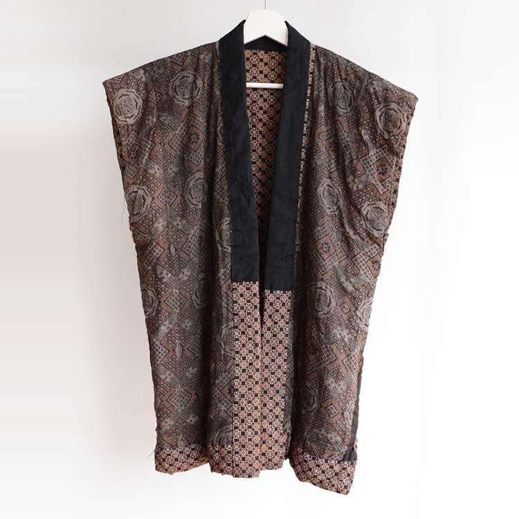 綿入れ半纏 袖なし 着物 ベスト 更紗 ジャパンヴィンテージ 昭和 | Kimono Vest Hanten Padded Japan Vintage Sarasa