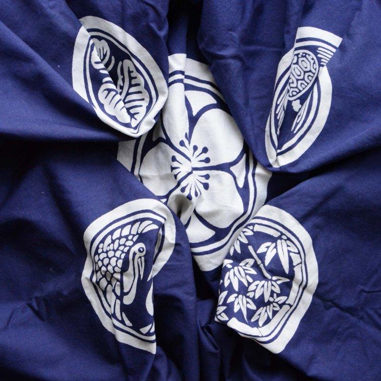 風呂敷 木綿 古布 ジャパンヴィンテージ ファブリック テキスタイル 昭和 平成   Furoshiki Vintage Wrapping Cloth Japanese Fabric Crest