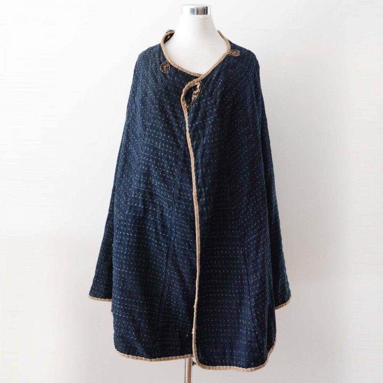 道中合羽 藍染 絣 襤褸 マント ケープ ジャパンヴィンテージ 明治 大正 | Kimono Cape Indigo Kasuri Fabric Japan Vintage Boro Rainwear