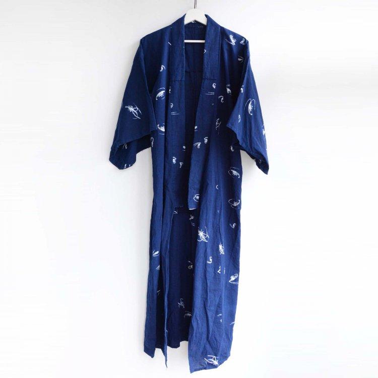 海老柄 着物 木綿 ジャパンヴィンテージ 昭和   Kimono Vintage Japanese Cotton Long Shrimp Pattern