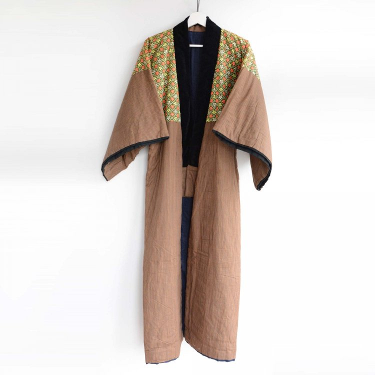 丹前 綿入れ半纏 着物 褞袍 掻巻 ジャパンヴィンテージ 昭和中期   Tanzen Hanten Padded Kimono Robe Japan Vintage