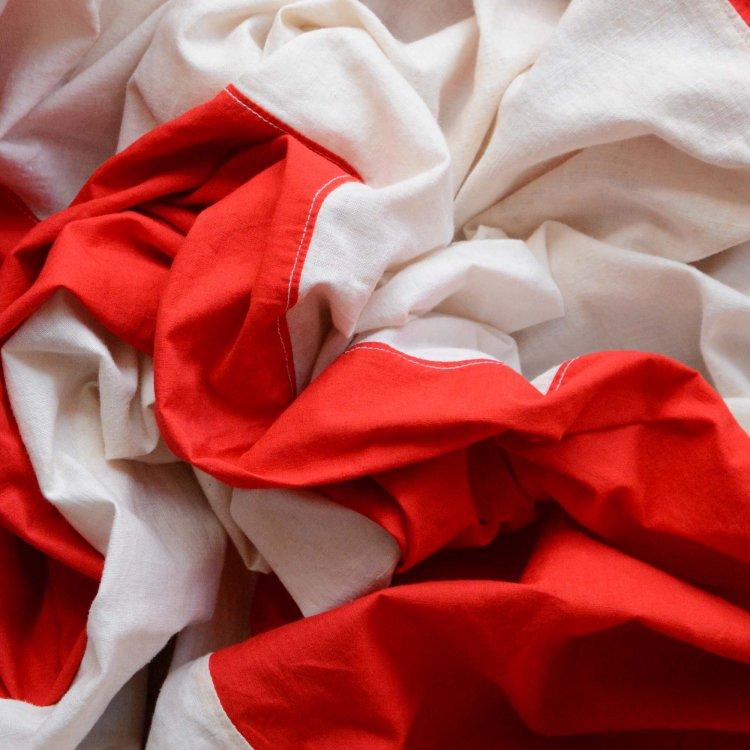 段幕 紅白 横縞 ジャパンヴィンテージ ファブリック 古布 60〜70年代 | Japanese Fabric Vintage Red and White Striped Curtain