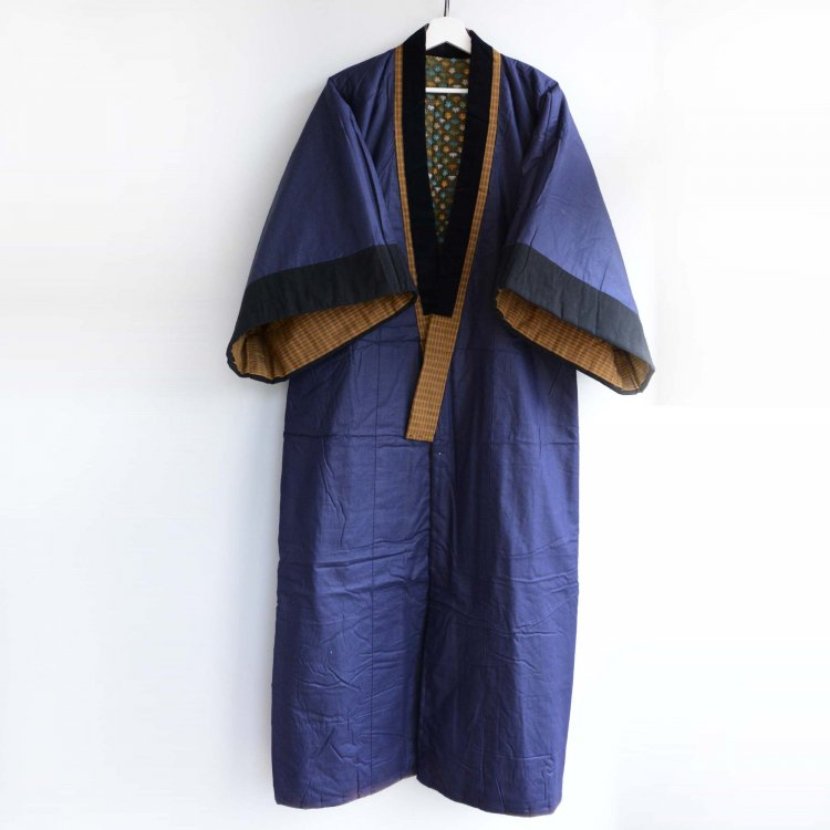 丹前 綿入れ 着物 半纏 褞袍 掻巻 日焼け ジャパンヴィンテージ 昭和中期 | Tanzen Hanten Padded Kimono Robe Japan Vintage Sunburn