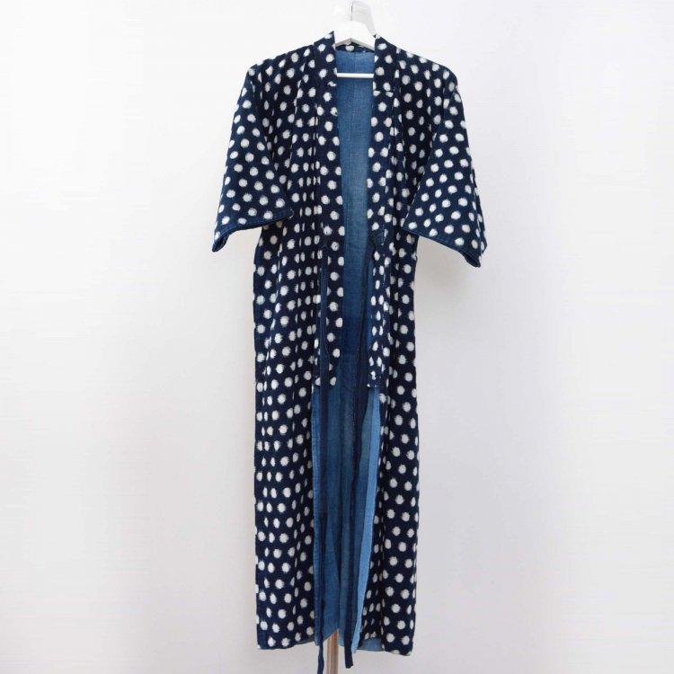 藍染 着物 絣 あられ 雪ん子 木綿 ジャパンヴィンテージ 大正 昭和 | Indigo Kimono Kasuri Fabric Snow Japan Vintage Long Robe