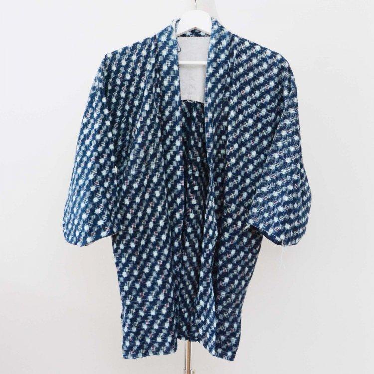 野良着 古着 藍染 絣 着物 木綿 襤褸 ジャパンヴィンテージ 昭和中期   Noragi Jacket Kasuri Fabric Indigo Kimono Japanese Vintage