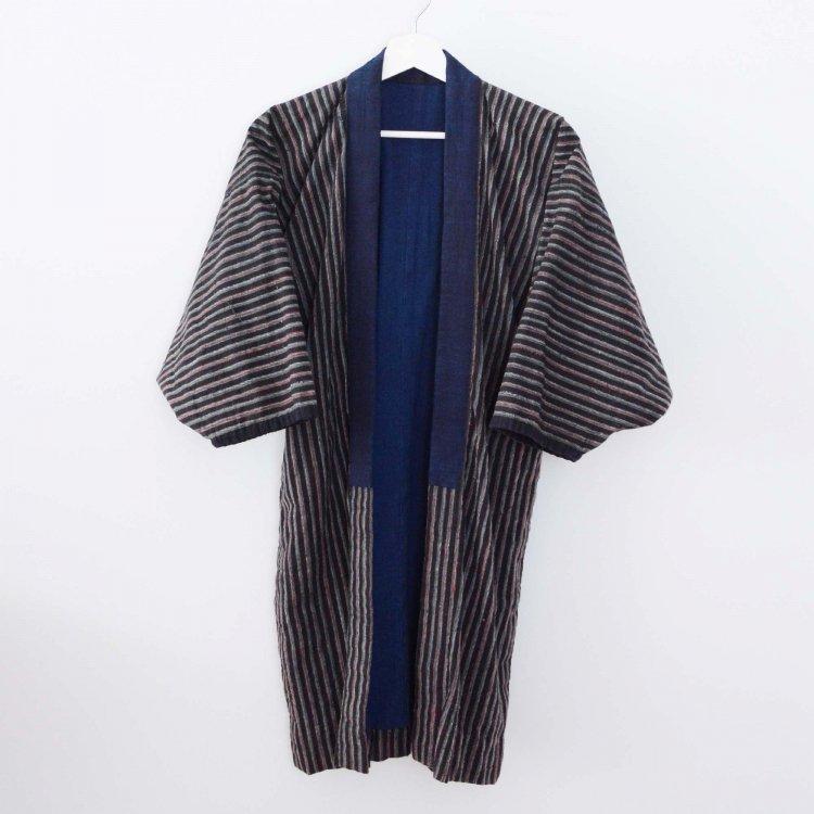 野良着 古着 藍染 着物 木綿 縞模様 ジャパンヴィンテージ 大正 昭和   Noragi Jacket Indigo Kimono Japanese Vintage Cotton Stripe