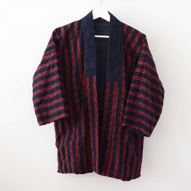 野良着 古着 藍染 着物 木綿 縞模様 ジャパンヴィンテージ 30〜40年代 | Noragi Jacket Indigo Kimono Japan Vintage Cotton Stripe