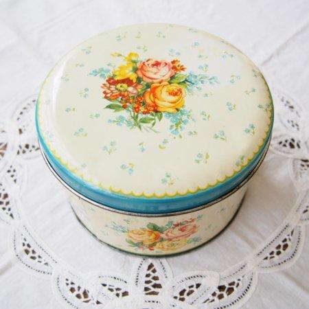 ローズ・フラワー お花模様のティン缶 / アンティーク・ヴィンテージ雑貨の画像