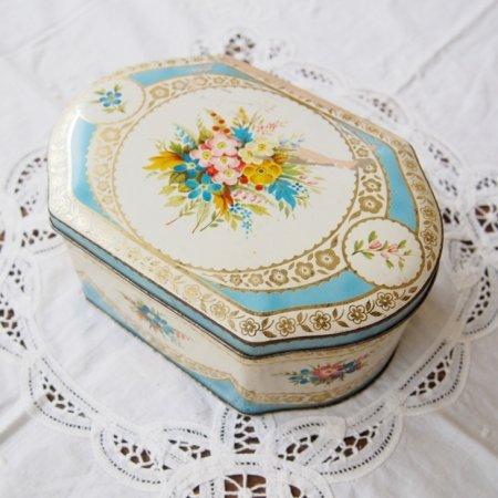 パステルカラーのフラワー お花模様のティン缶 / アンティーク・ヴィンテージ雑貨の画像